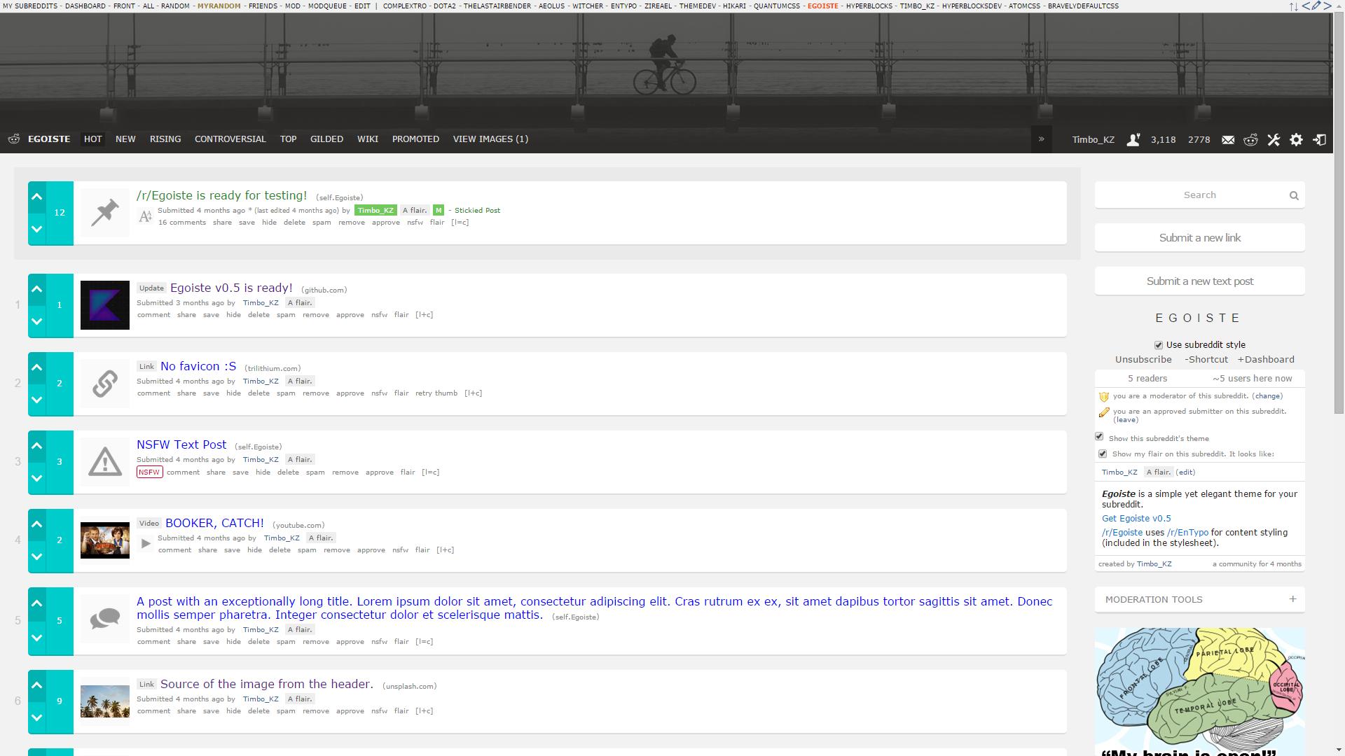 Egoiste Reddit theme