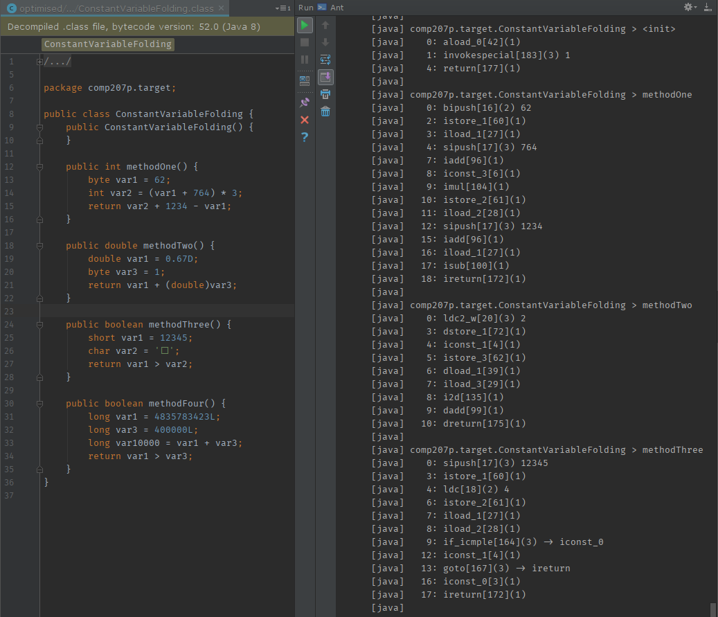 Decompiled Java bytecode on the left, instruction list outputted by BCEL on the right