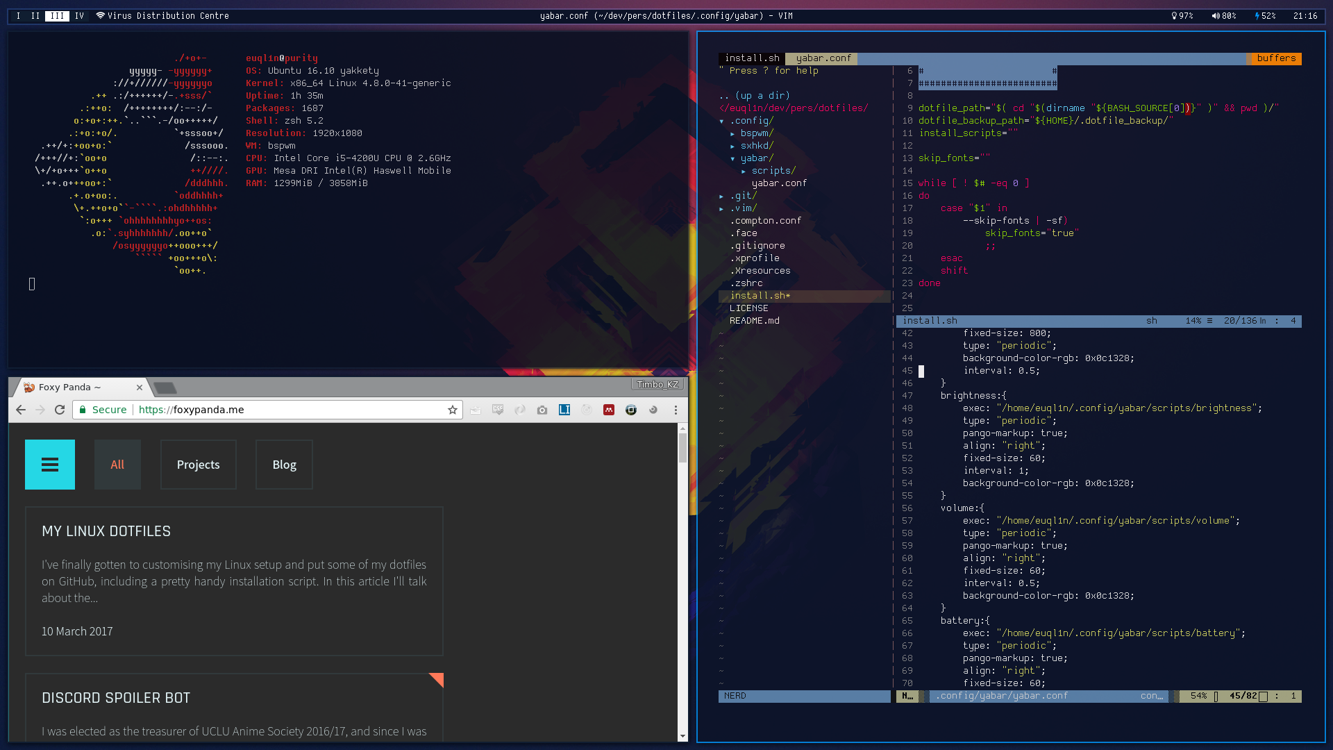 The Linux setup for my laptop, Purity, Sony VAIO Pro 13